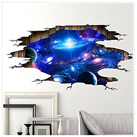 Sticker Mural, Guizen Creative 3D Outer Space Planet Wall Sticker-Image Murale avec Galaxy de l'éspace Décoration Murale de Plafond 60*90cm