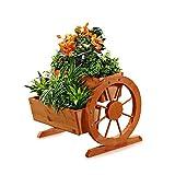 Melko® Pflanzkübel mit Wagenräder, aus Holz, braun, 44 × 42 x 40 cm, Pflanzkarre Pflanzwagen Blumenkübel
