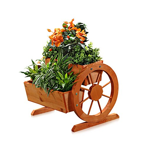 Melko Pflanzkübel mit Wagenräder, aus Holz, braun, 44 × 42 x 40 cm, Pflanzkarre Pflanzwagen Blumenkübel