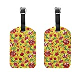 COOSUN Red Flowers Floral Luggage Tags Travel Labels Tag Name Card Holder for Baggage Suitcase Bag Backpacks, 2 PCS