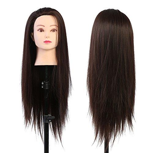 Tête studio cheveux cheveux mannequins tête maquillage coiffure poupée cosmétologie brun foncé blond 60 cm haute température résistant à la température cosmétologie pratique