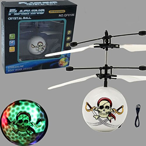 autone RC Flying Ball, Piraten Skelett-Muster Drohne Hubschrauber Ball, USB-Ladekabel integrierte LED Beleuchtung Strahlen für Kinder Spielzeug