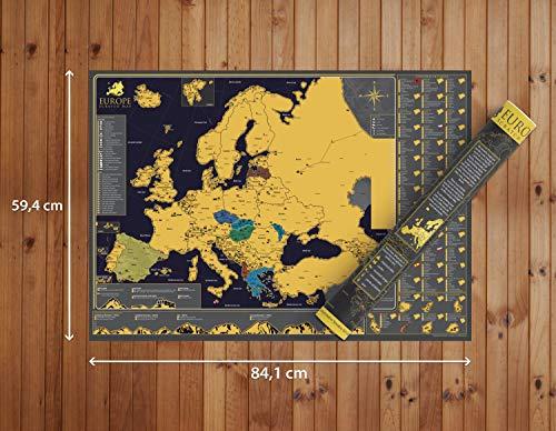 Póster mapa Europa rascar - Hermoso mapa rascar lujo
