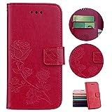 Sycode Custodia Galaxy S3,PU Custodia in Pelle Sbalzato Rose Fiore Portafoglio Cover per Samsung Galaxy S3-Rosso