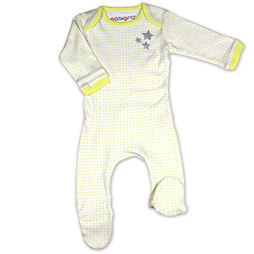 Easigro The Popper Free Easy Change Baby Grow Sleepsuit - White/Yellow Stars
