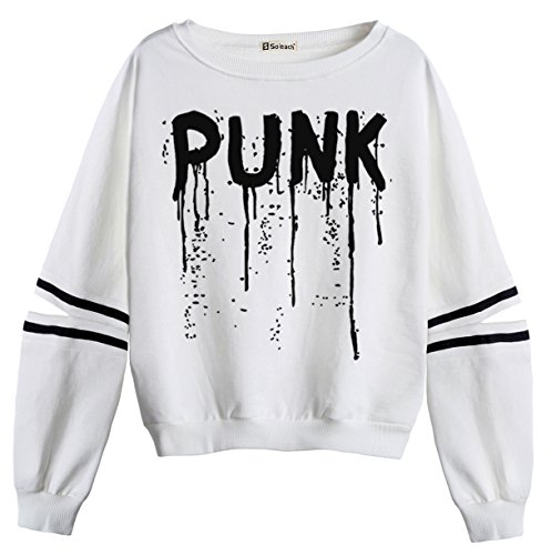 So'each Women's Punk Letters Stripes Casual Sweater Pullover Sweatshirt (Tiger Mantel Stripe Baumwolle)