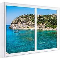 CCRETROILUMINADOS Bahía De Rhodes Grecia Cuadros Decorativos Ventanas Falsas con Luz, Madera, Blanco,