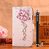 Locaa(TM) HTC One X HTC OneX (Not HTC One) 3D Bling Case + Griffel + Anti Staub Ohrstecker Deluxe Luxus Perlen Diamant niedlich Schöne Retro Card Holder Wallet Protection Hülle - [General Serie] rosa Kristall Blume