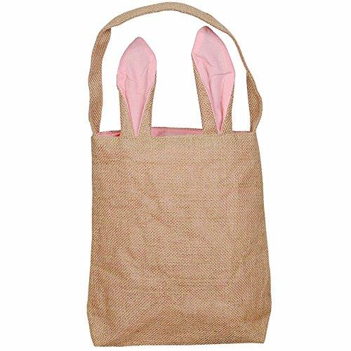 SuperCimi Osterhase Ohren Tasche Ostereier Leinwand Körbe Taschen Tragen Geschenke Süßigkeiten Ostern Tasche size Einheitsgröße (Rosa)
