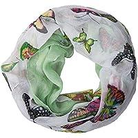 ManuMar Loop-Schal für Damen | feines Hals-Tuch mit Schmetterling-Motiv | Schlauch-Schal - Das ideale Geschenk für Frauen