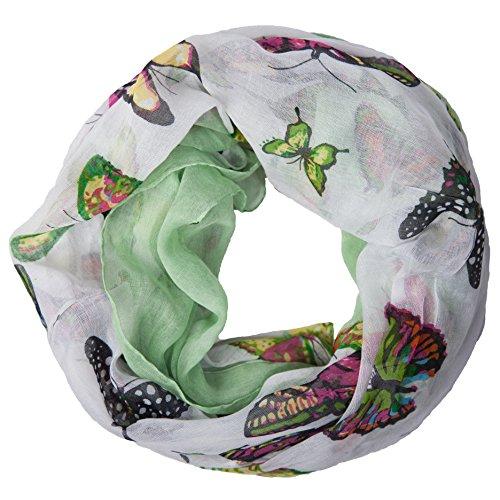 MANUMAR Loop-Schal für Damen | Hals-Tuch in Grün mit Schmetterling Motiv als perfektes Frühling Sommer Accessoire | Schlauchschal | Damen-Schal | Rundschal | Geschenkidee für Frauen und Mädchen