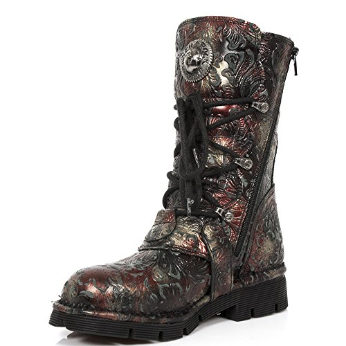 New Rock Womens M.1473-S42 Vintage Flower Rojo Leather Boots Rot