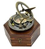 Antik Sonnenuhr Kompass Replica 3in Hartholz in Box–massiv Messing Pocket