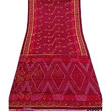 sari de seda de la vendimia printeded decoración mezcla vestido de flores Bolywood material de tejido artesanal sari usados