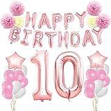 KUNGYO Zum 10. Geburtstag Party Dekorationen Kit-Rose Gold Happy Birthday Banner-Riesen Zahl 10 und Sterne Helium Folienballons, Bänder, Papier Pom Blumen, Latex Ballons, Alles Gute Zum Geburtstag für Frauen