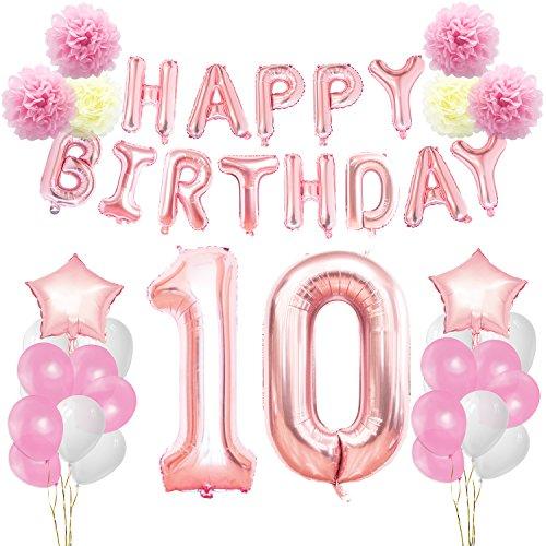 KUNGYO Decoraciones de Feliz Cumpleaños 10 Oro Rosa Happy Birthday Bandera Gigante Número 10 y Estrella de Helio Globos Cintas Flores de Papel Pom Globos de látex
