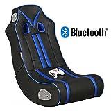 WOHNLING® Soundchair NINJA in Schwarz Blau mit Bluetooth   Musiksessel mit eingebauten Lautsprechern   Multimediasessel für Gamer   2.1 Soundsystem - Subwoofer   Music Gaming Sessel Rocker Chair