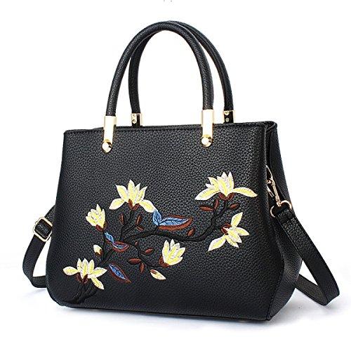 Trend Top Griffe Weibliche Handtaschen Stickerei Handtaschen Casual Schultertasche Für Frauen Handtasche Black
