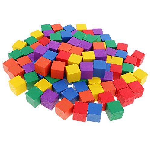 Gazechimp 100er-Set Regenbogen Holz Blöcke Bauklötze Holzpuzzle, Kinder Denkspielzeug für Zuhause oder Kindergarten