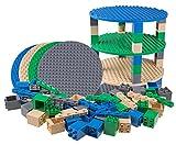 Premium-Set für runde Turm-Konstruktionen - 4 Bauplatten (Ø 12,5/31,75 cm), 48 2x2-Bausteine & 12 Diagonal-Bausteine - mit allen Marken für große Bausteine kompatibel - Blau, Grau, Grün und Sandfarben