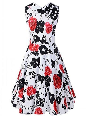 LOBTY Damen Kleider Dress 50er Jahre Vintage-Kleid Hepburn Rockabilly Knielang Kleid mit Blumen Retro Audrey Rock Rot 2
