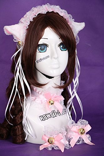 ic Lolita Maid Katzen Ohren Cat Ear Haarband Halsband Armband Set Cosplay (Weiße Katze Kostüm Ohren)