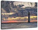 Leuchtturm bei Ebbe , Format:100x70 cm, Bild auf Leinwand bespannt, riesige XXL Bilder komplett und fertig gerahmt mit Keilrahmen, Kunstdruck auf Wand Bild mit Rahmen, günstiger als Gemälde oder Bild, kein Poster oder Plakat