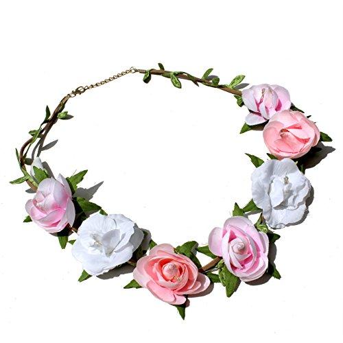 TRENDWERT® Blumen-Haarband und Armreif I Haarschmuck Vintage zur Hochzeit Tracht Kommunion I Haarreif-Blüten in Rosa Pink Weiß I Blumen-Haarband-Mädchen und Damen längenverstellbar