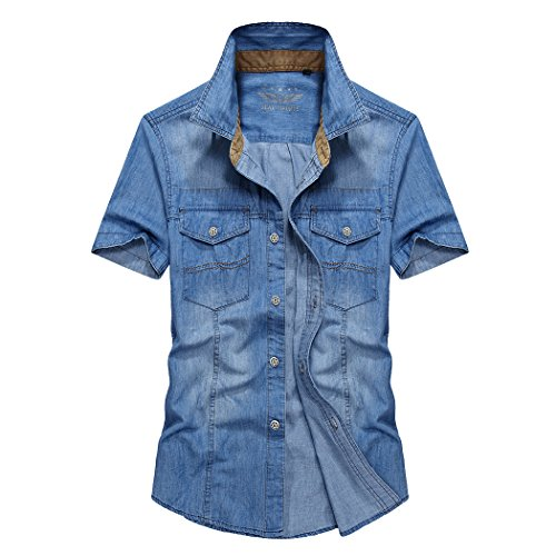 WALK-LEADER Herren Freizeit-Hemd, Einfarbig Gr. Small, B-Blue (V-neck-kurta)