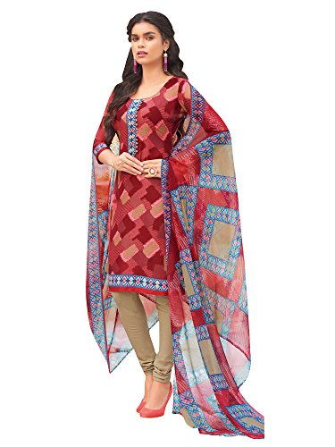 Applecreation Women'S Crepe Dress Materials ( Red_35Swtk1394_Unstiched Salwar Suit )