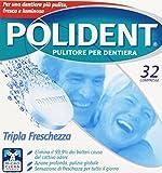 Polident - Pulitore Per Dentiera - 32 Compresse, Tripla Freschezza, Per Una Dentiera Più Pulita, Fresca E Luminosa