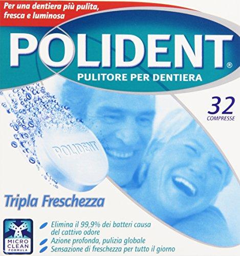 compresse per la pulizia delle dentiere tripla freschezza 32 compresse