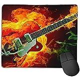 Tapis de Souris antidérapant Personnalité Desings Gaming Mouse Pad Mat Rockabilly Fire Guitare électrique