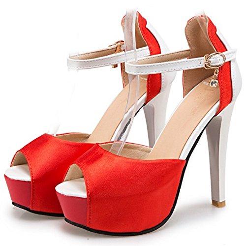 COOLCEPT Femmes Mode Cheville Sandales Peep Toe Talon Aiguille Chaussures Rouge