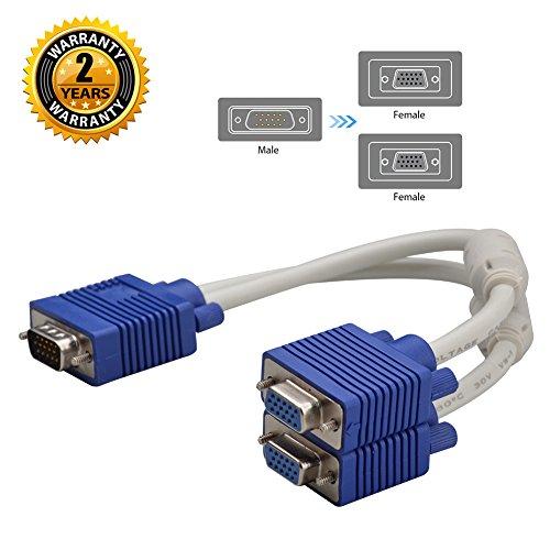 Câble diviseur VGA, 15 broches 1 mâle à 2 femelles Y Adaptateur Câble convertisseur pour PC Projecteur vidéo pour ordinateur (blanc)