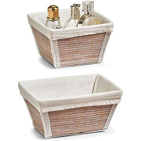 Zeller cesta de almacenamiento de bambú Conjunto de 2, 14 x 14 x 9 cm cuadrado y 19 x 14 x 9 cm rectangular, de bambú y tela; como la cesta de pan o cestas decorativas de los utensilios de baño