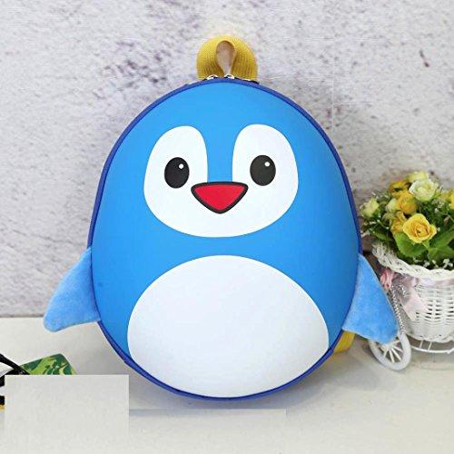 Fami- Sacchetto di scuola del bambino dello zaino degli animali del modello del pinguino dei bambini del bambino Blu