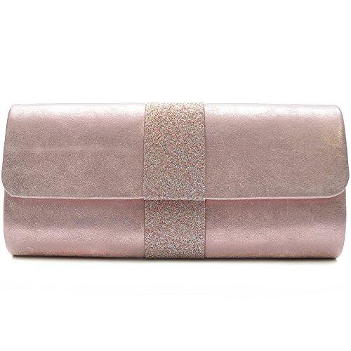 Vain Secrets Damen Umhänge Tasche Abendtasche Clutch in vielen Farben Pink