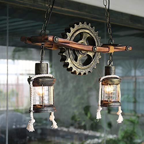 Creative Retro Industrial Wind Gear Chandelier Cafe/Bar/Restaurante Iluminación Decorativa Arte De Hierro Lámpara De Techo De Madera Maciza Lumineux