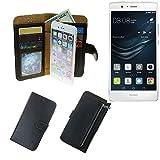 K-S-Trade Huawei P9 Lite Dual SIM Schutz Hülle Portemonnaie Case Phone Cover Slim Klapphülle Handytasche Schutzhülle Handyhülle schwarz aus Kunstleder (1 STK)