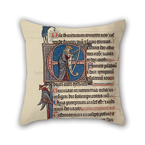 beautifulseason Cushion Cases of Oil Painting Bute Master (Franco-Flemish, Active About 1260-1290) - Initial E- David Playing The Harp and A Man Heaving A Rock for Teens Car Bar Christmas Birthda