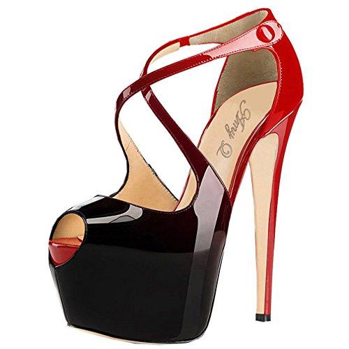 ENMAYERFemmesGradientPlatformPeepToeStilettoHautTalonRobesdeMariage Rouge-Noir