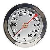 Lantelme 500 °C / 15 cm Thermometer für Bratofen/Backofen / Pizzaofen/Holzofen / Holzbackofen/Ofen / Grill Analog/Bimetall / Edelstahl