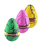 Yeelan Hatching Dino Dinosaurio Dragon Hatch-Grow Huevos Pack de gran tamaño de 3PCS, grieta de colores