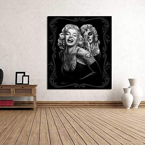 Hd Print Leinwand Malerei Marilyn Monroe Tattoos Poster Drucken Schwarz-Weiß Wandkunst Bilder Für Wohnzimmer Dekoration 50Cmx70Cm Hd Tattoo