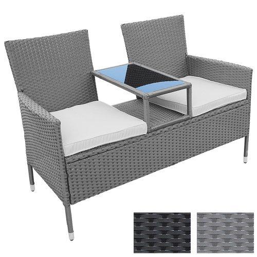 Miadomodo Divano da giardino divanetto con tavolino da giardino in polyrattan colore grigio