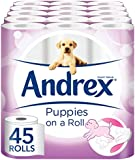 Andrex Gentle Clean, Puppies on a Roll Toilet Tissue Paper - 45 Rolls