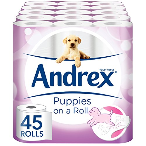 Andrex Gentle Clean Toilet Roll, Designs May Vary - 45 Rolls (5 x Pack of 9 Rolls) by Andrex