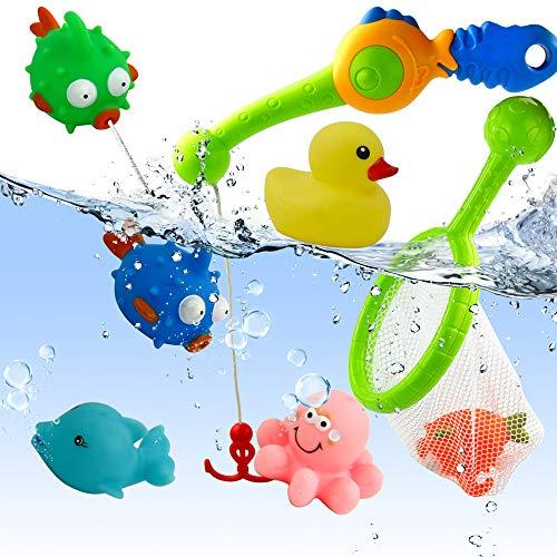 yoptote Badewannenspielzeug Wasserspiel Entchen Angeln Schwimmenden Fisch Badespaß ab 3 4 5 Jahre für Badewanne Dusche Pool (Mehrweg)