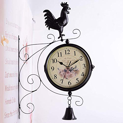 ZHAS Garten Wanduhr, Eisen Metall Silent Quiet Grand Central Station Wanduhr Art Clock dekorative doppelseitige Vintage antike Wanduhr, B, 45 * 9 * 29 -